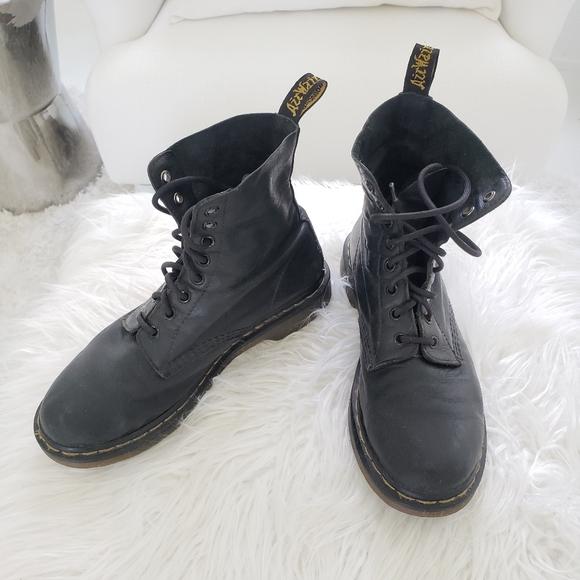 DR. MARTENS Air Wair Soft Calf Leather Black Boots